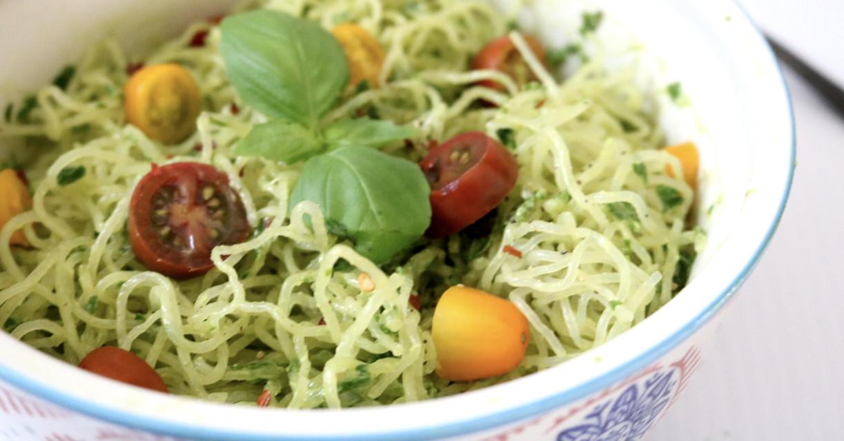 Vegan Carb Free Recipes  Kelp Noodles With Avocado Pesto low carb gluten free