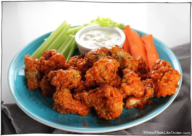 Vegan Cauliflower Wings  Crispy Buffalo Cauliflower • it doesn t taste like chicken