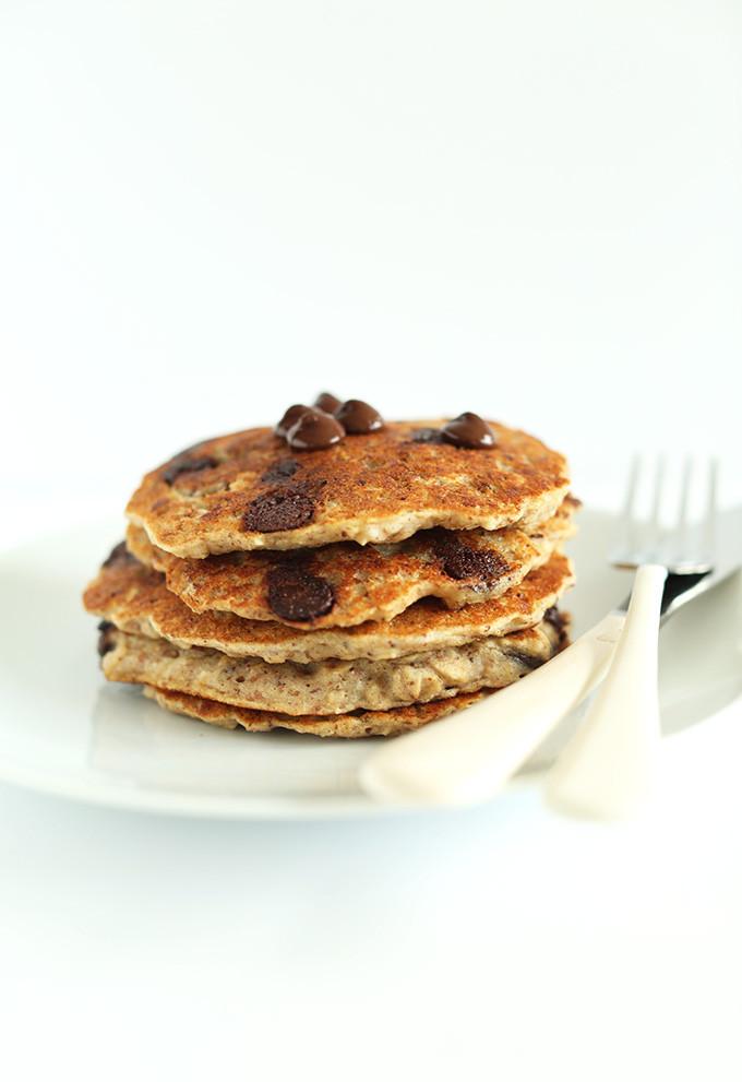 Vegan Chocolate Chip Cookies Minimalist Baker  Healthy Chocolate Chip Oatmeal Cookie Pancakes