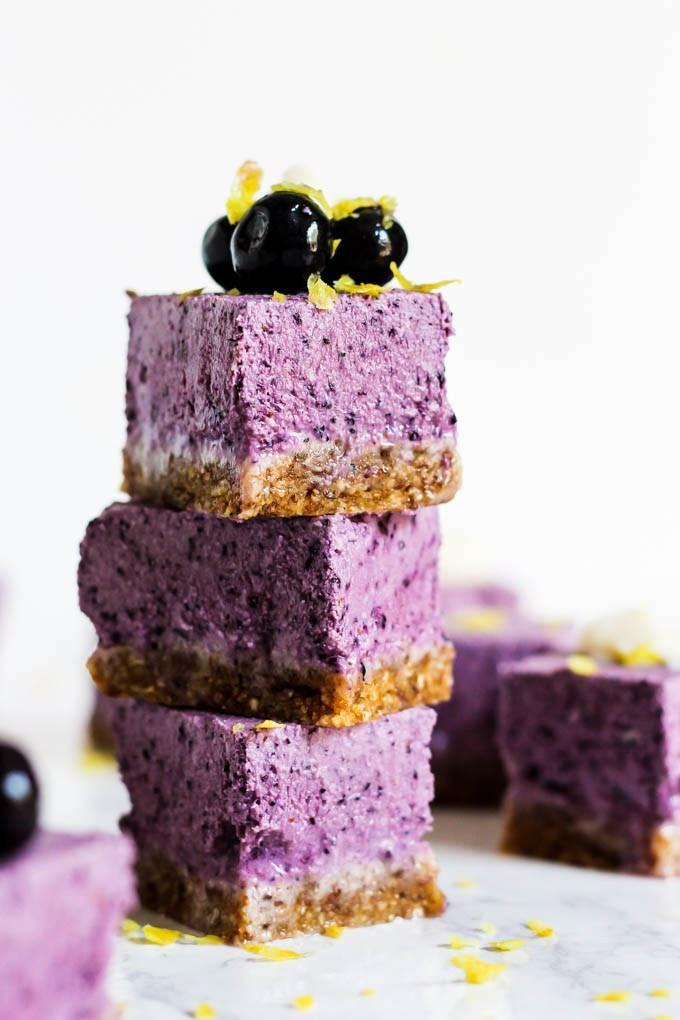 Vegan Dairy Free Desserts  No Bake Lemon Blueberry Cheesecake Bars vegan & gluten