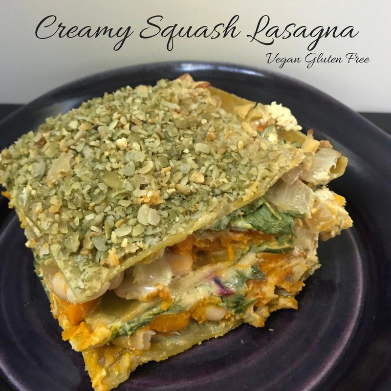 Vegan Gluten Free Lasagna  Creamy Squash Lasagna with Sage Spinach and Beans