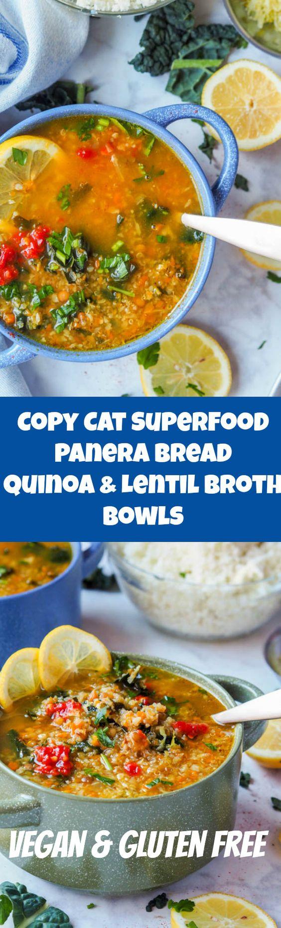 Vegan Lentil Quinoa Broth Bowl  Panera Broth Bowl with Lentils Quinoa and Veggies GF
