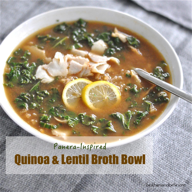 Vegan Lentil Quinoa Broth Bowl  Panera Inspired Quinoa Lentil Broth Bowls Beckham Belle