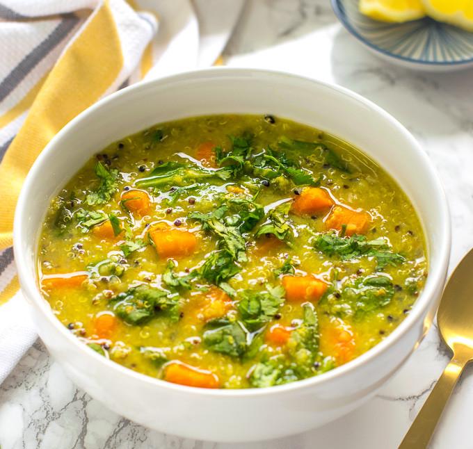 Vegan Lentil Quinoa Broth Bowl  Instant Pot detox soup