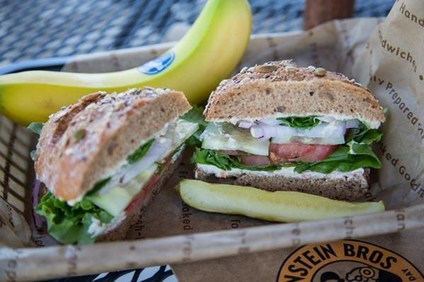 Vegan Options At Einstein Bagels  Einstein Bagel s Hummus Veg Out Sandwich Hummus Tomato