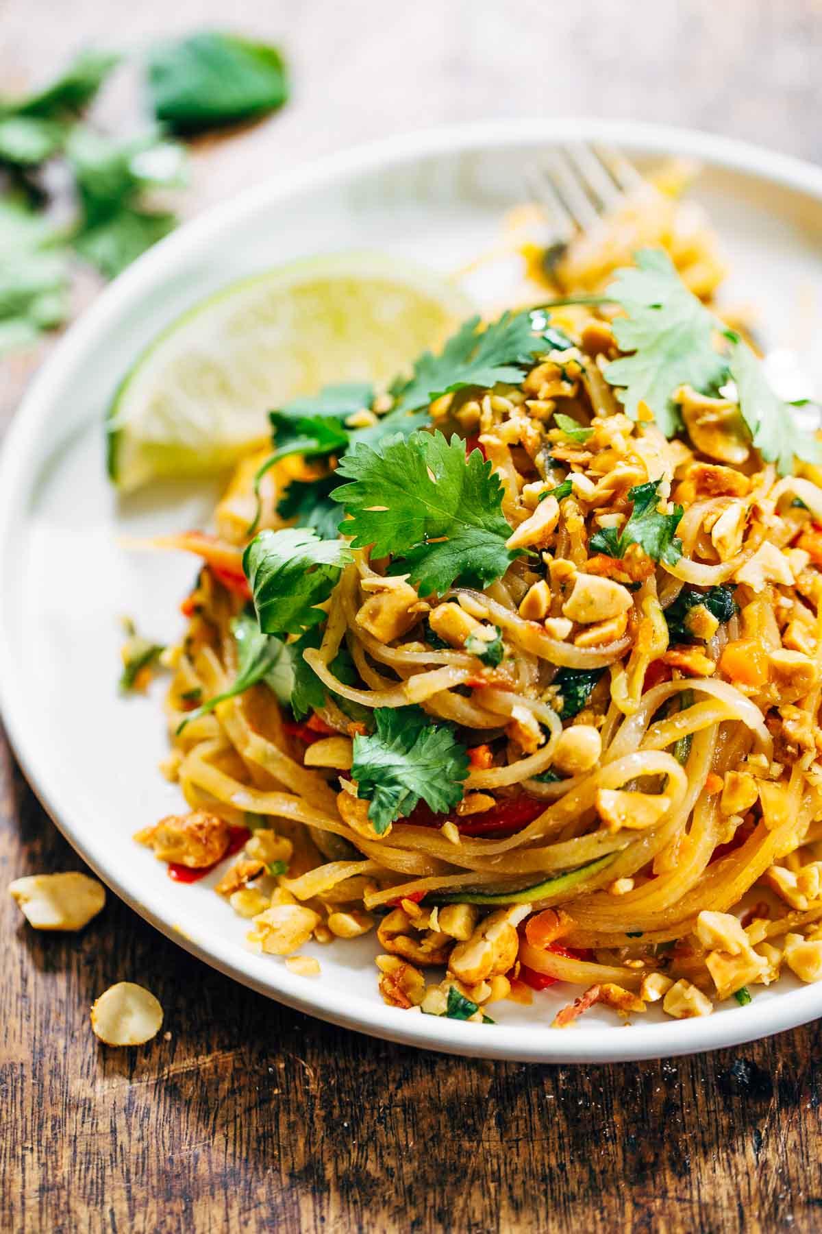Vegan Pad Thai Recipes  Rainbow Ve arian Pad Thai with Peanuts and Basil Pinch