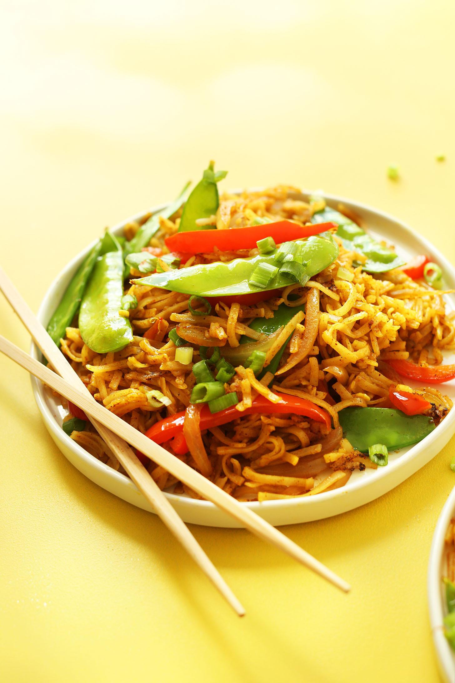 Vegan Rice Noodle Recipes  EASY Vegan Singapore Noodles 10 ingre nts simple