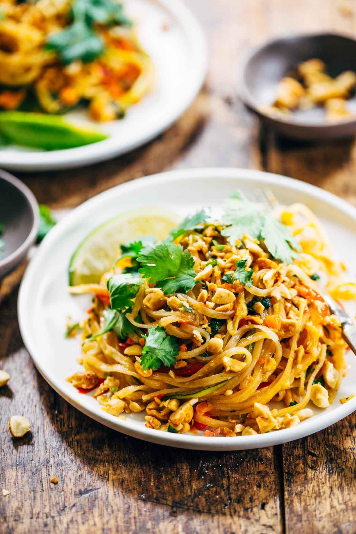 Vegan Rice Noodle Recipes  Rainbow Ve arian Pad Thai with Peanuts and Basil Recipe