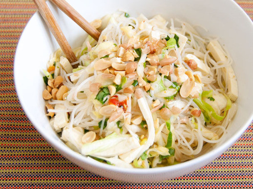 Vegan Rice Noodle Recipes  Spicy Rice Noodle Salad with Cabbage and Tofu