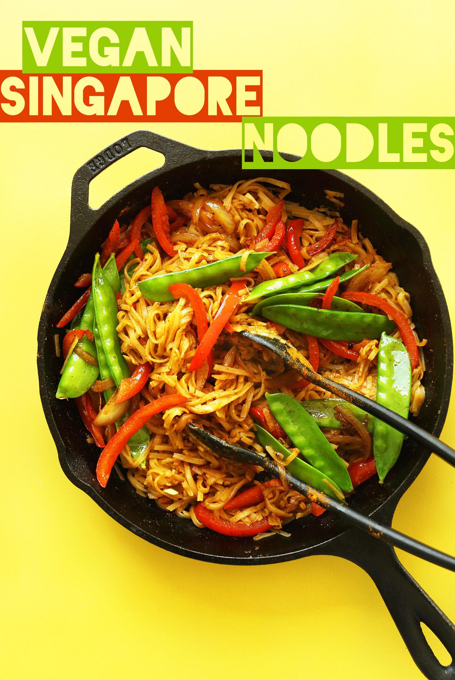 Vegan Rice Noodle Recipes  AMAZING Vegan Singapore Noodles 10 ingre nts simple
