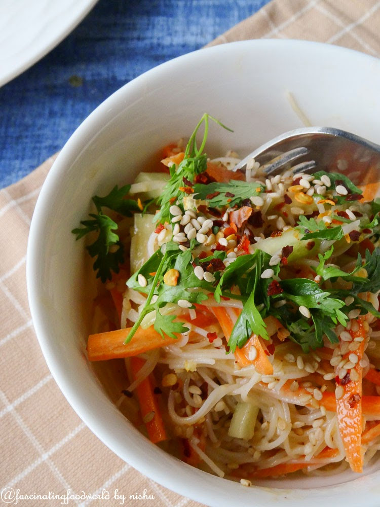 Vegan Rice Noodle Recipes  fascinatingfoodworld Cold rice noodle salad in peanut