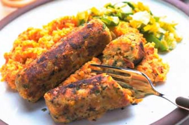 Vegan Sausage Recipes  Ve arian sausages with sweet potato mash recipe goodtoknow