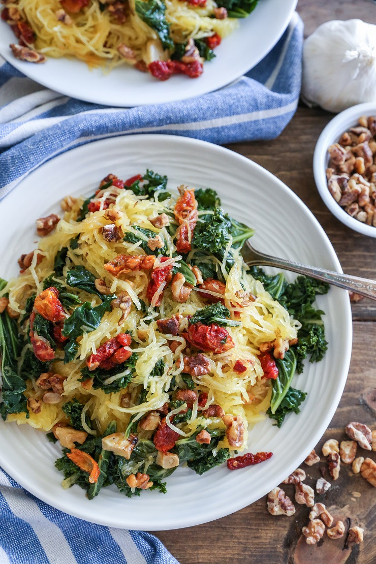 Vegan Spaghetti Squash Recipes  Roasted Garlic and Kale Spaghetti Squash with Sun Dried