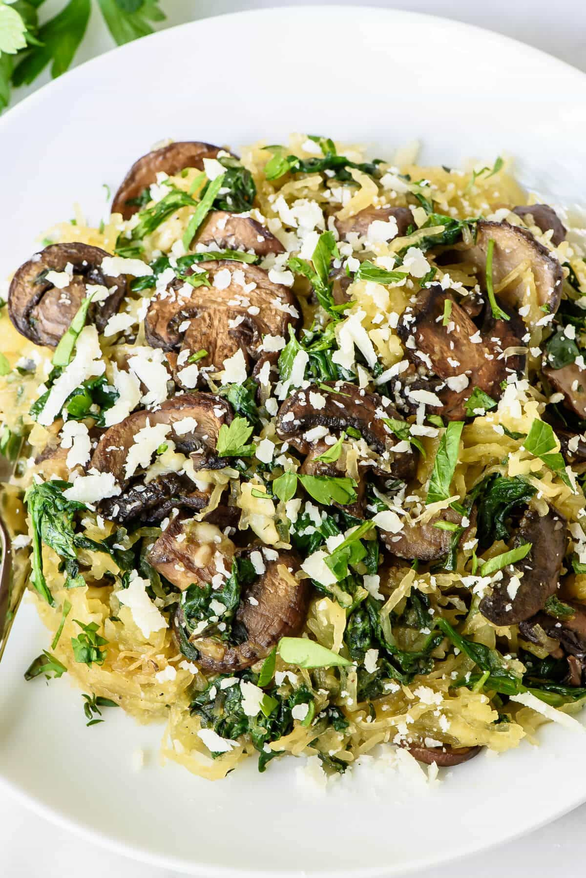 Vegan Spaghetti Squash Recipes  Roasted Spaghetti Squash with Parmesan and Mushrooms