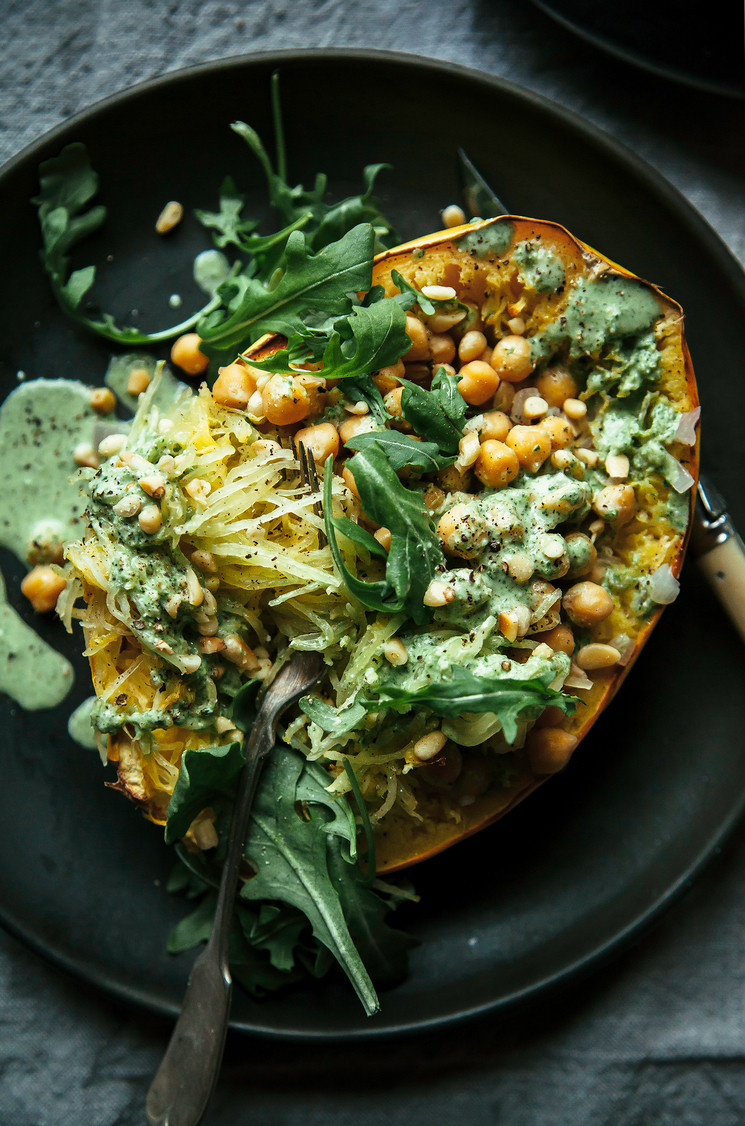 Vegan Spaghetti Squash Recipes  STUFFED SPAGHETTI SQUASH WITH CHICKPEAS & GARLICKY ARUGULA