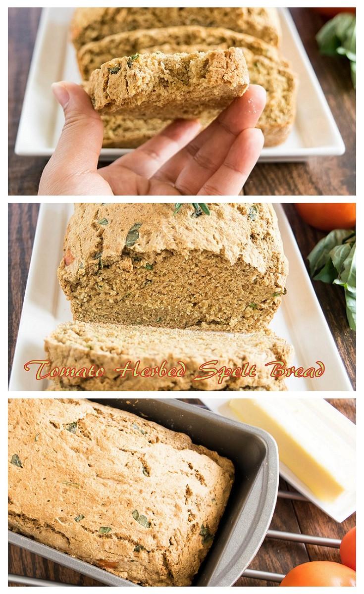 Vegan Spelt Bread Recipe  Tomato Herbed Spelt Bread