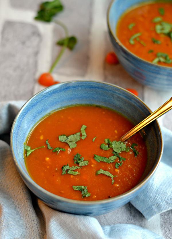 Vegan Tomato Soup Recipes  Vegan carrot tomato soup with tamarind