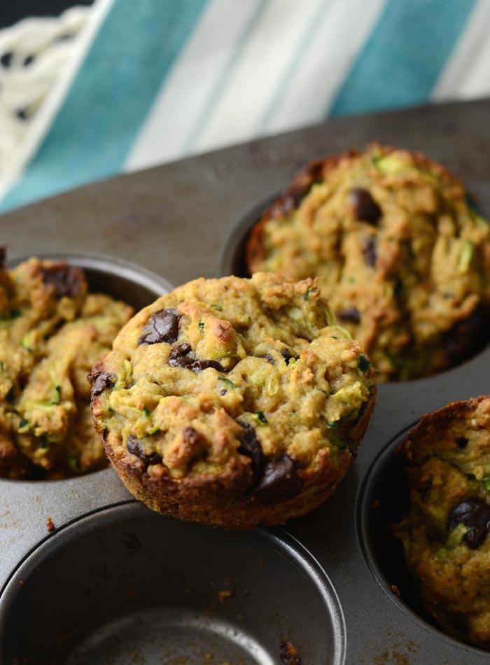 Vegan Zucchini Muffins  Skinny Vegan Chocolate Chip Zucchini Muffins