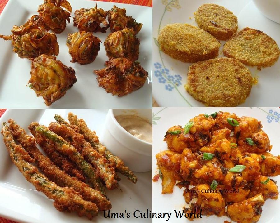 Vegetarian Appetizers Indian  Uma s Culinary World Ve arian