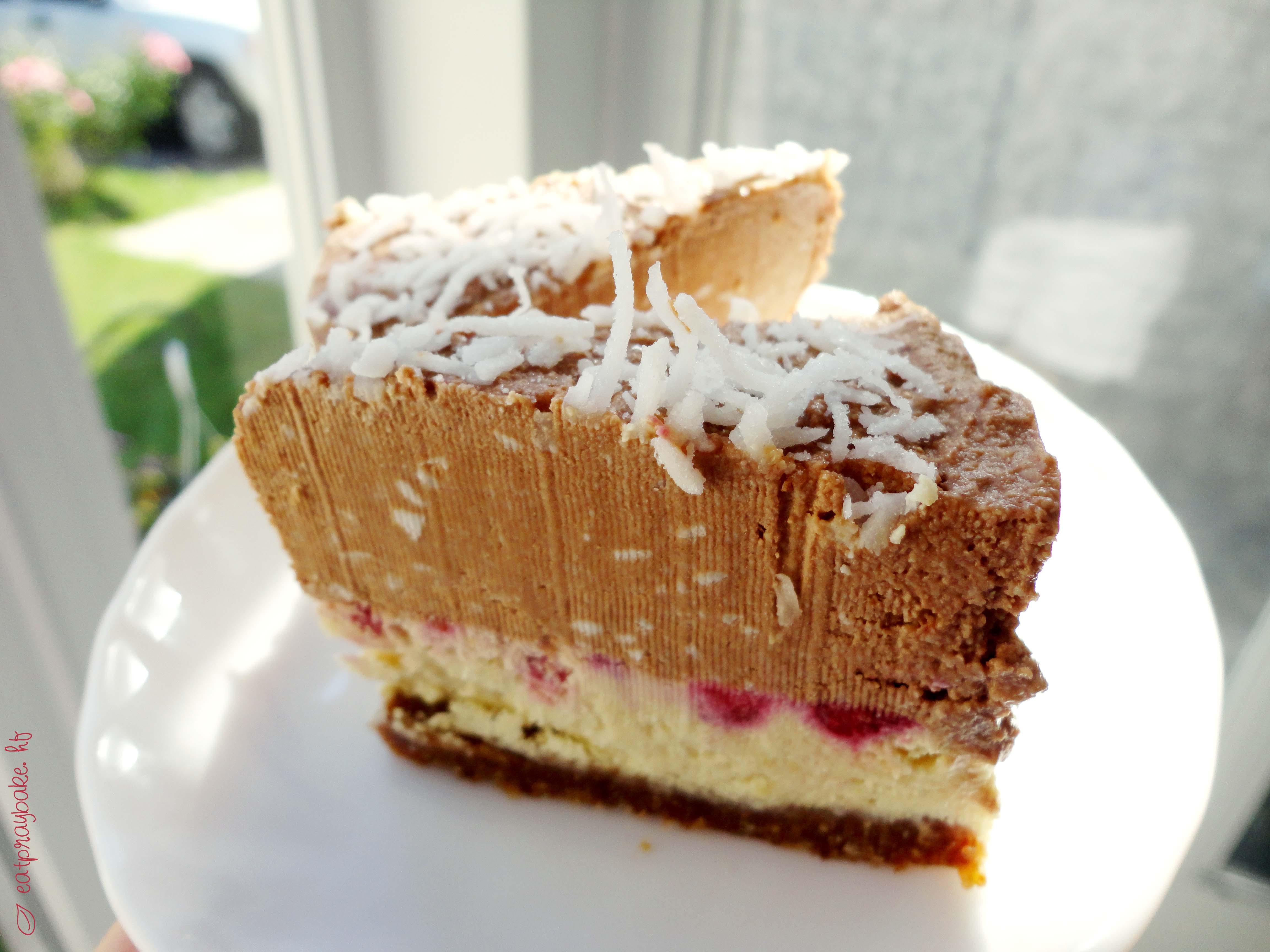 Vegetarian Cheese Cake  Chocolate Coconut Raspberry Vegan Cheesecake