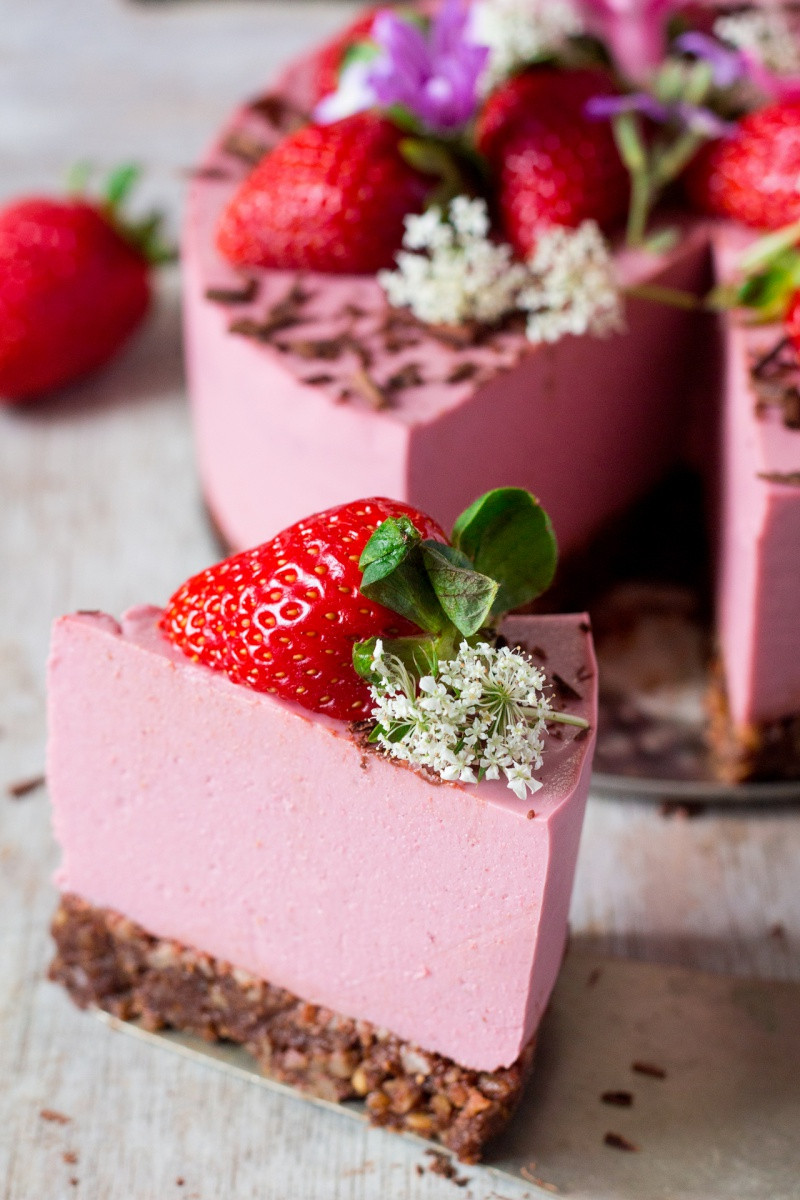Vegetarian Cheese Cake  Vegan strawberry cheesecake oil free Lazy Cat Kitchen
