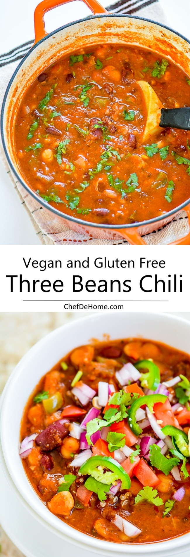 Vegetarian Chickpea Chili  Easy Ve arian Three Beans Chili with Chickpeas Recipe