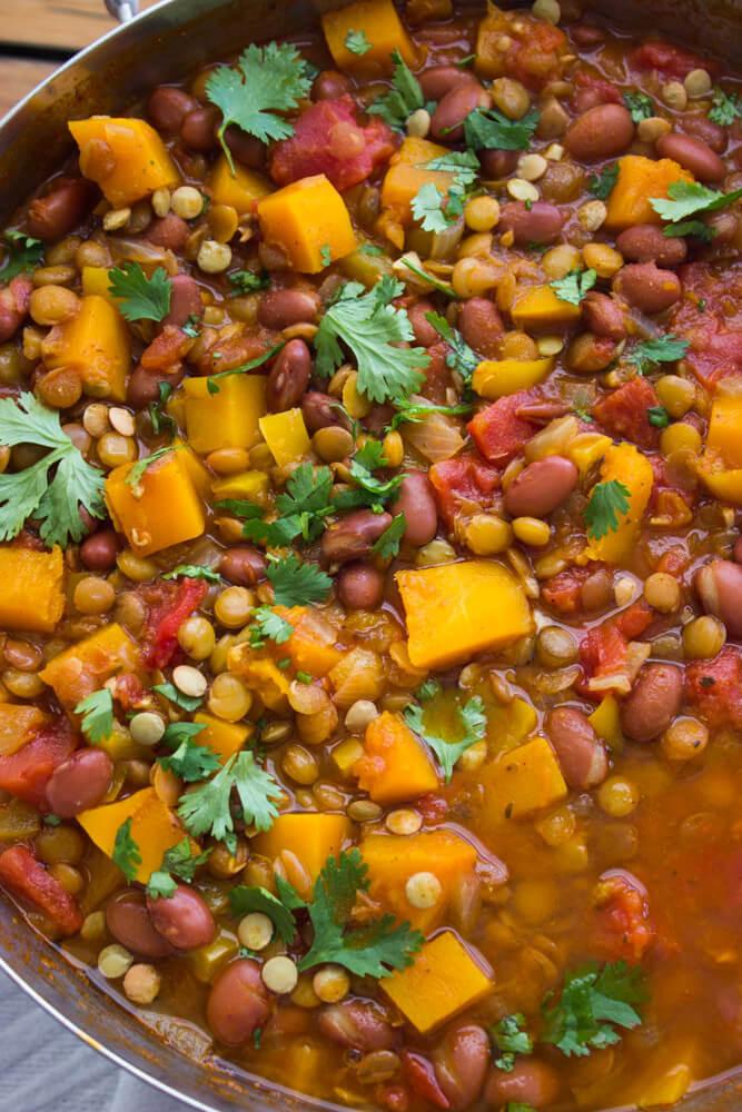 Vegetarian Chili With Squash  Lentil and Butternut Squash Chili