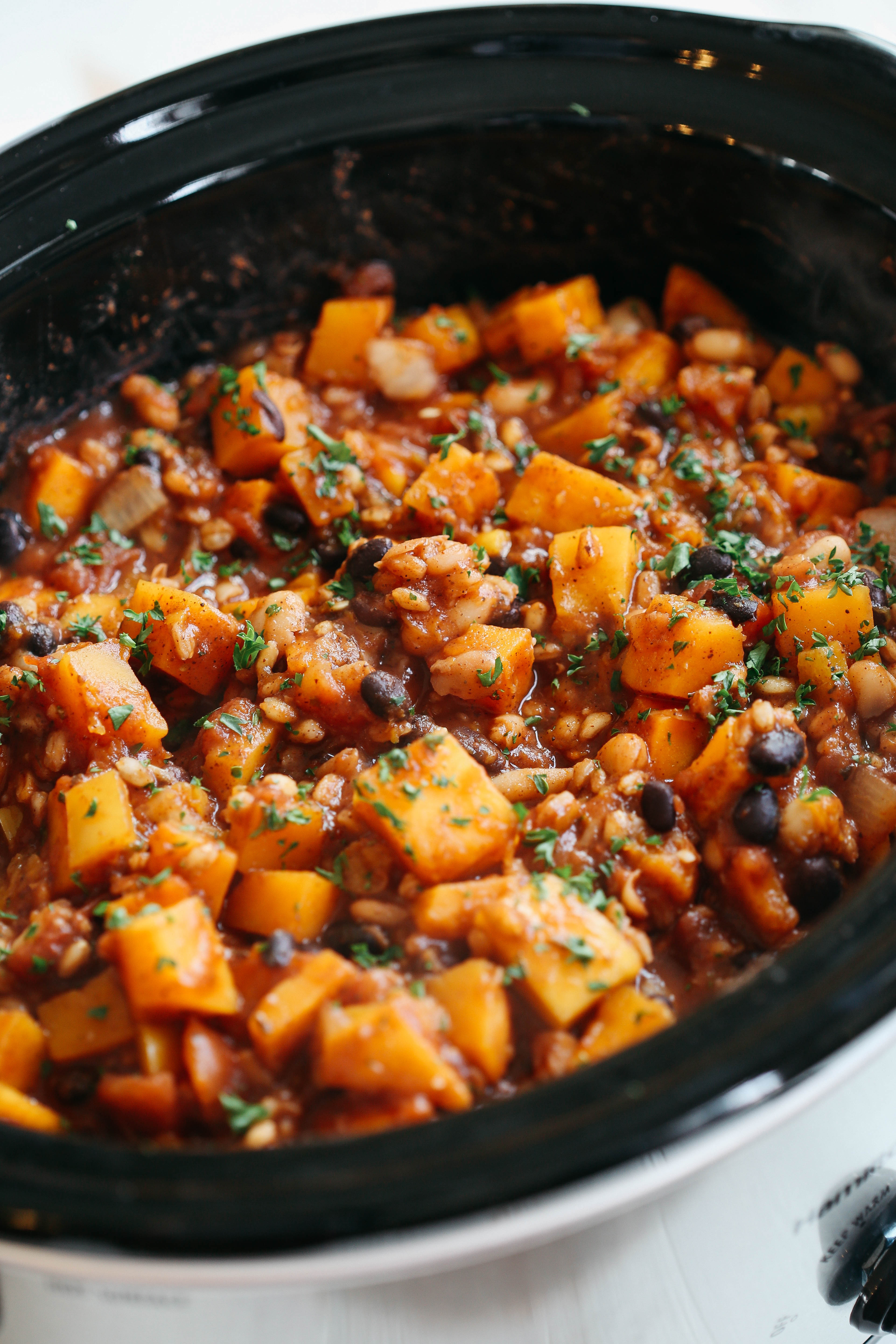 Vegetarian Chili With Squash  Slow Cooker Butternut Squash and Farro Chili Eat