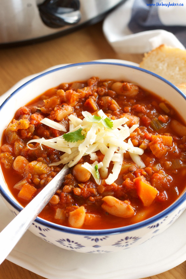 Vegetarian Crock Pot Chili Recipe  Crock Pot Ve arian Chili Slow Cooker The Busy Baker
