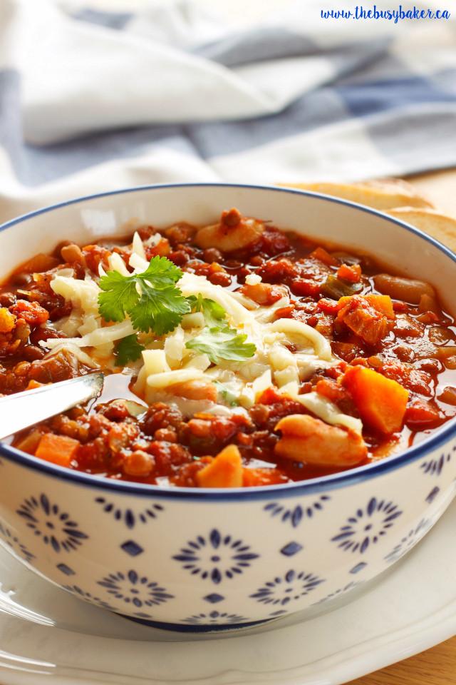 Vegetarian Crock Pot Chili Recipe  Crock Pot Ve arian Chili Slow Cooker The Busy Baker