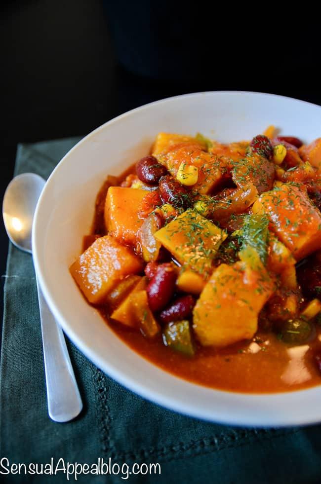 Vegetarian Crock Pot Chili Recipe  Vegan Butternut Chili Healthy Crock Pot Recipe Sensual