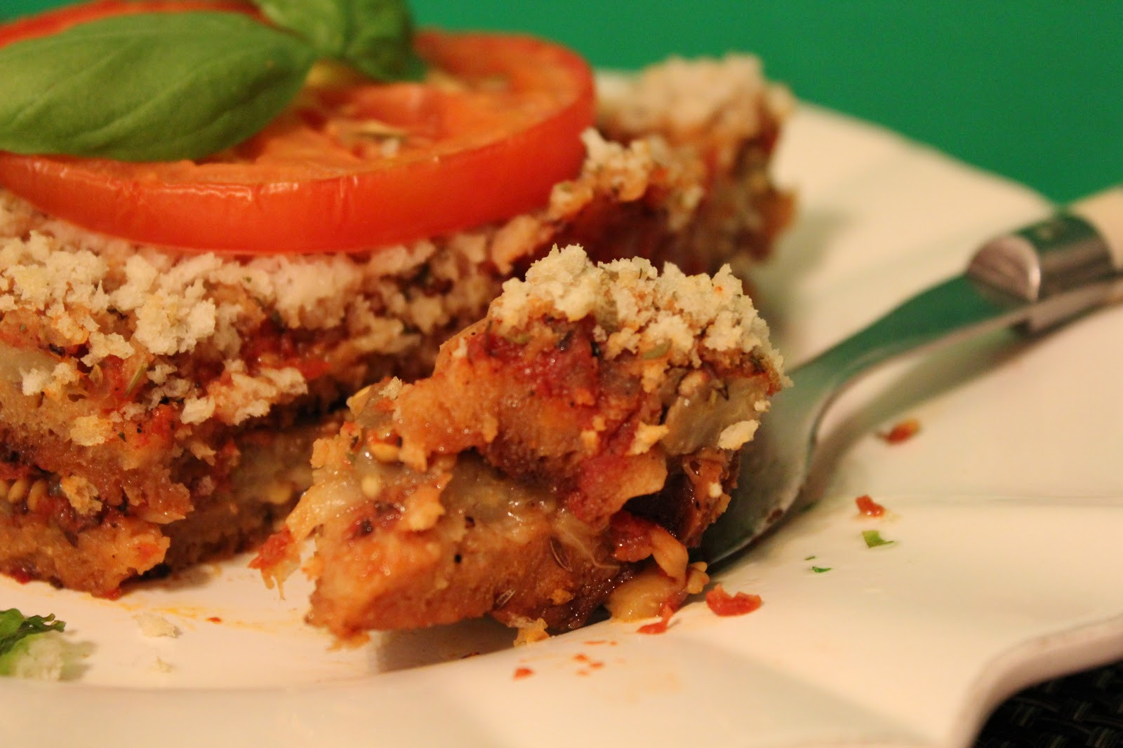 Vegetarian Eggplant Lasagna Without Noodles  The Happy Go Lucky Vegan Rustic Garlic Bread & Eggplant