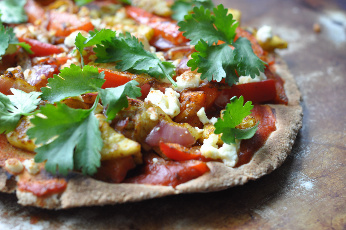 Vegetarian Flatbread Pizza Recipes  Curried Ve able Flatbread Pizza Suburble
