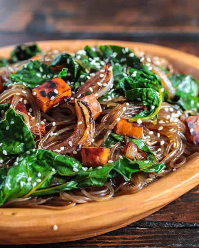 Vegetarian Korean Recipes  Ve arian Korean Japchae Noodle Recipe Steamy Kitchen