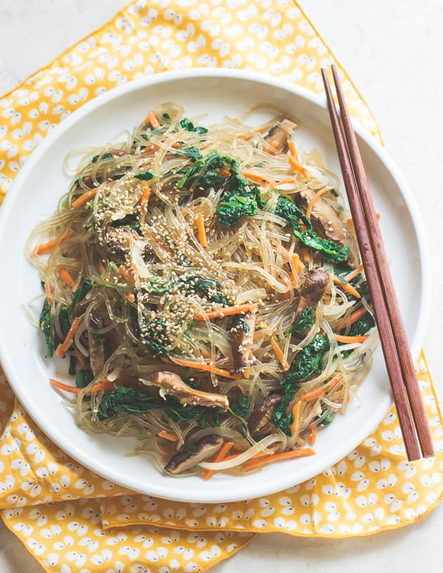 Vegetarian Korean Recipes  Ve arian Japchae Korean Stir Fried Sweet Potato Noodles
