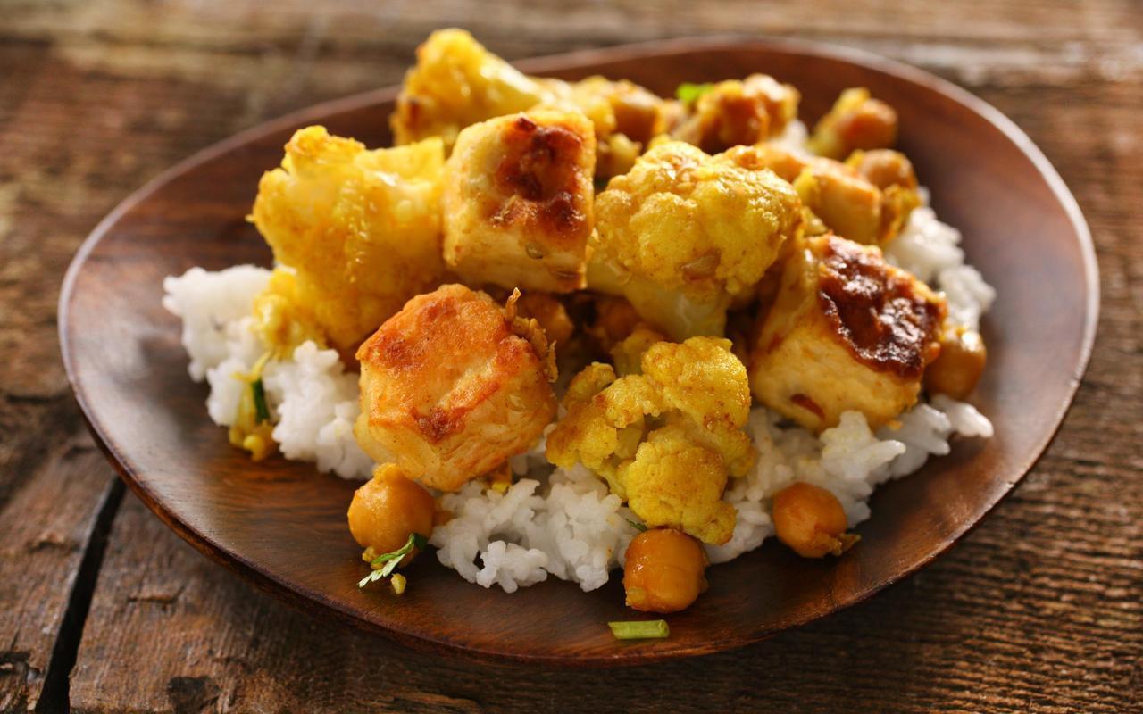Vegetarian Main Dishes Recipe  Curried Cauliflower Chickpeas and Tofu Recipe Chowhound