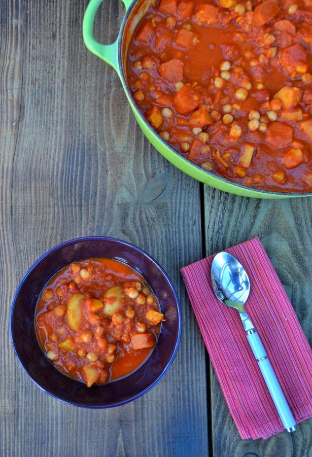 Vegetarian Potato Stew  Hearty Chickpea and Sweet Potato Stew Tinned Tomatoes