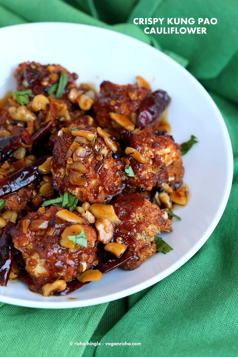 Vegetarian Recipes Video  Spicy Crispy Kung Pao Cauliflower Vegan Richa