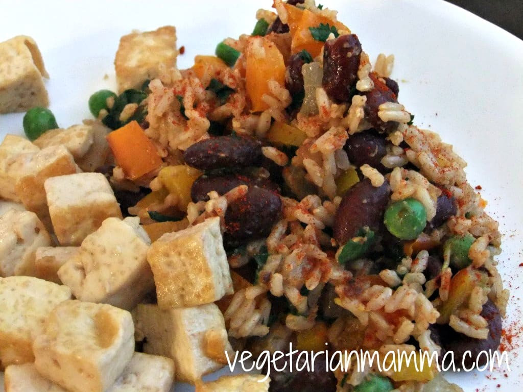 Vegetarian Rice And Beans  Tofu with Spanish Rice and Beans