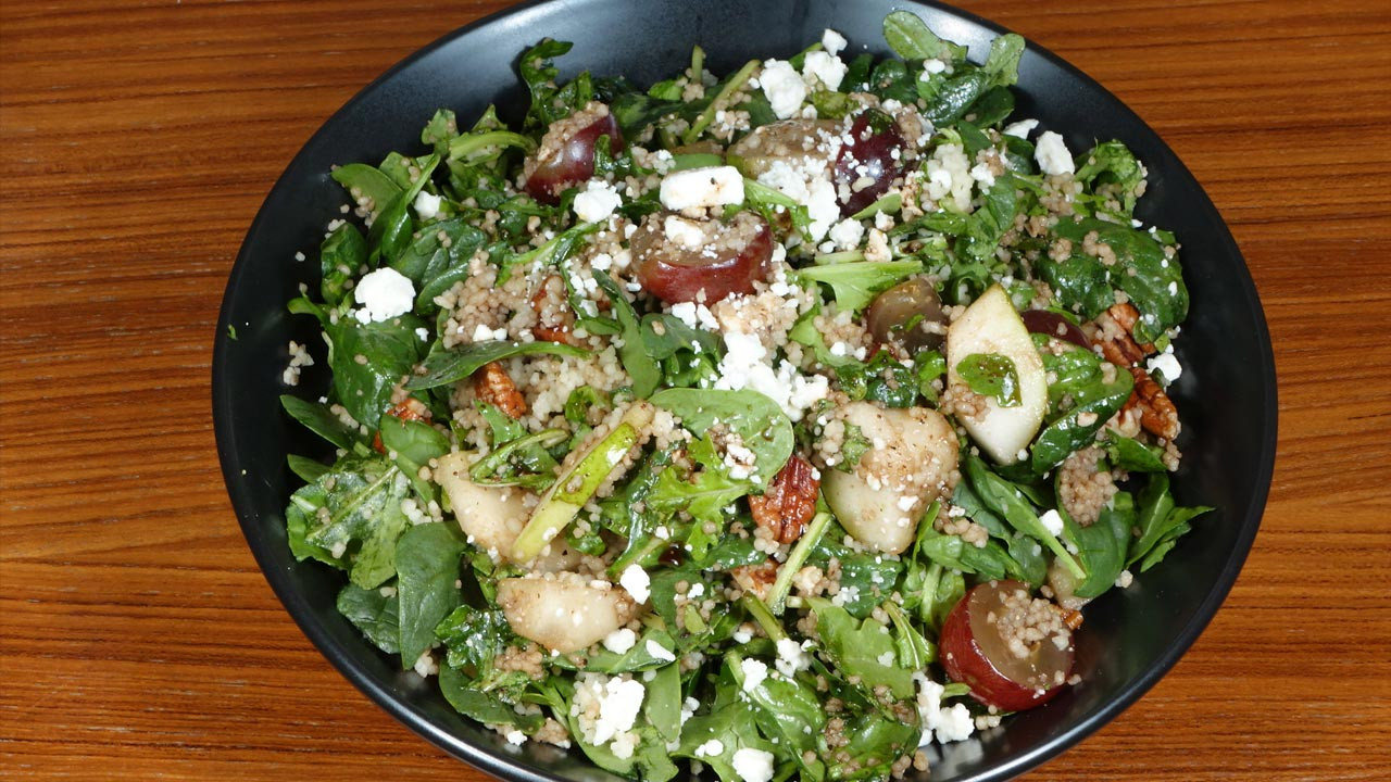 Vegetarian Spinach Salad Recipes  Spinach Couscous Salad Manjula s Kitchen Indian