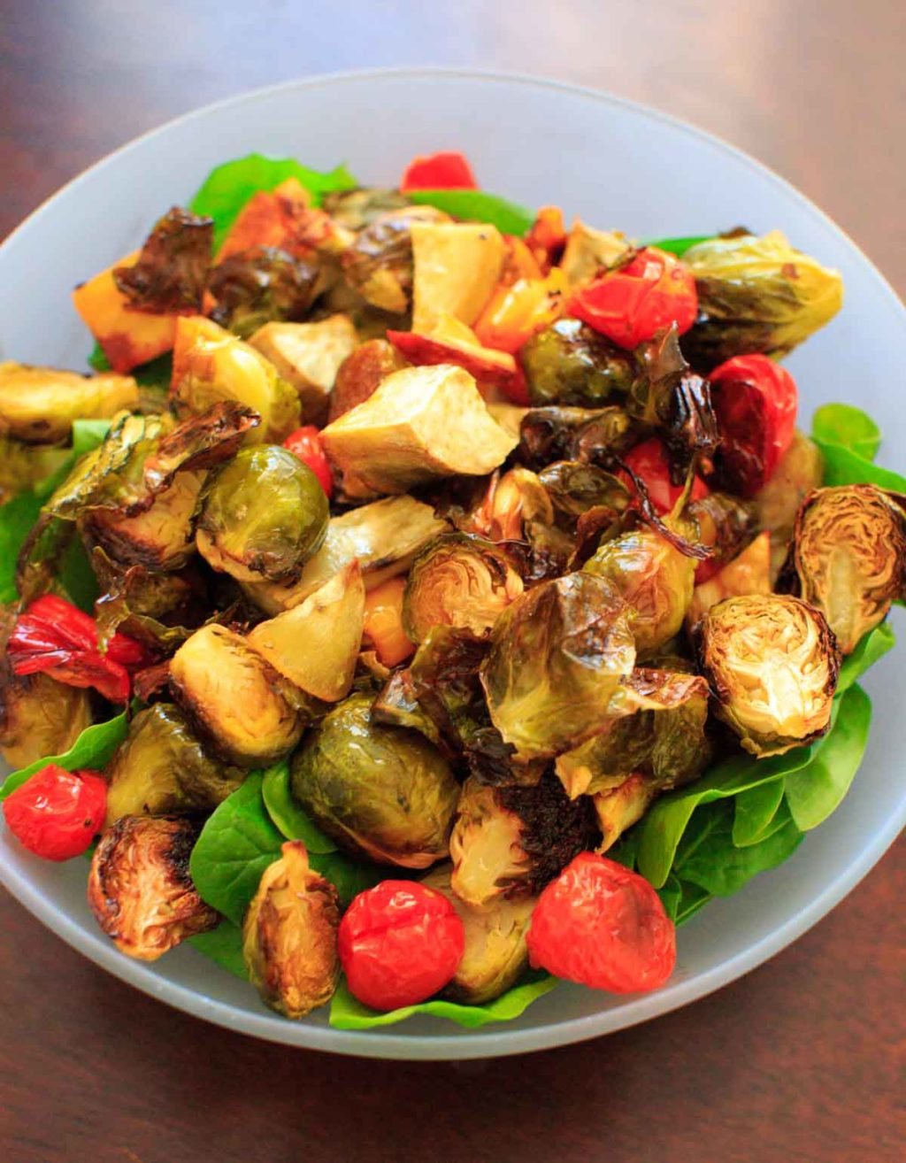 Vegetarian Spinach Salad Recipes  Leftover Veggie Salad Roasted Ve ables on Spinach with