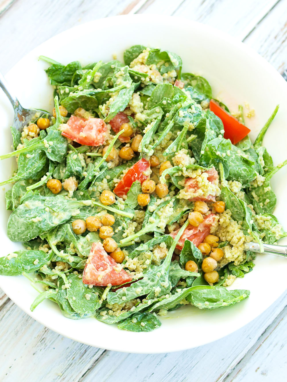 Vegetarian Spinach Salad Recipes  Loaded Spinach Salad with Creamy Avocado Basil Dressing