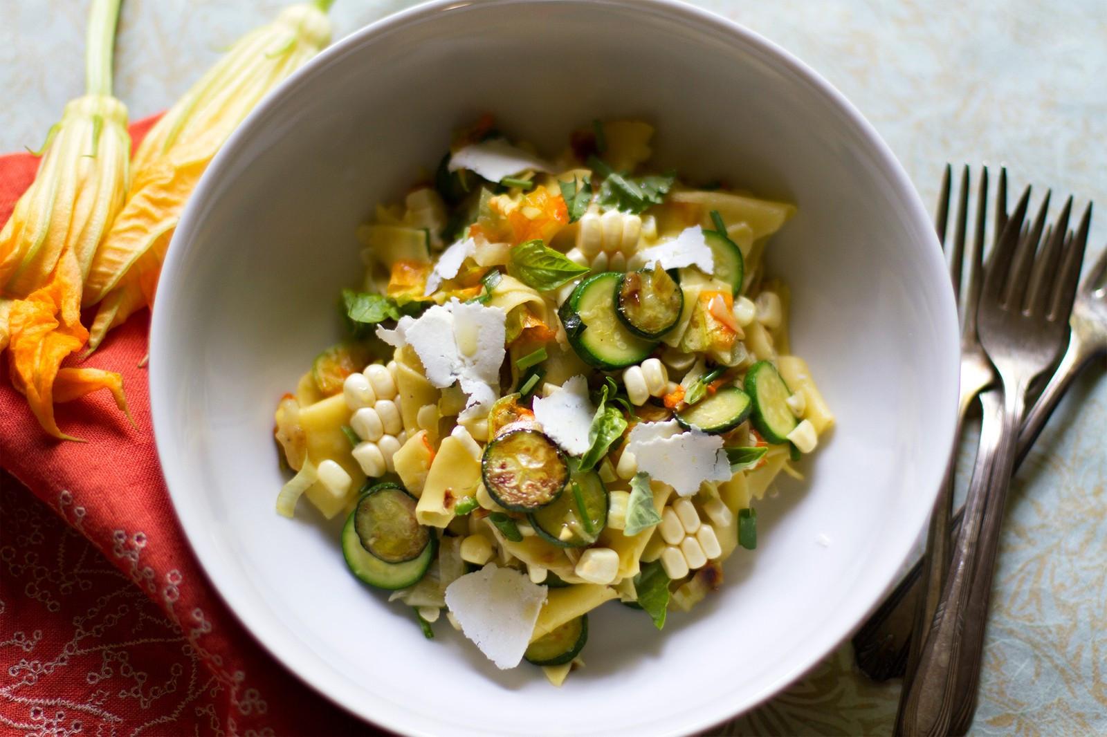 Vegetarian Summer Recipes  Maltagliati Pasta with Summer Ve ables and Ricotta Salata
