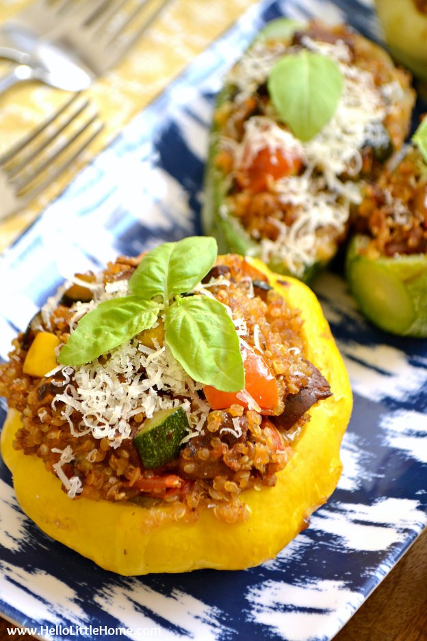 Vegetarian Summer Recipes  Ve arian Quinoa and Sausage Stuffed Summer Squash