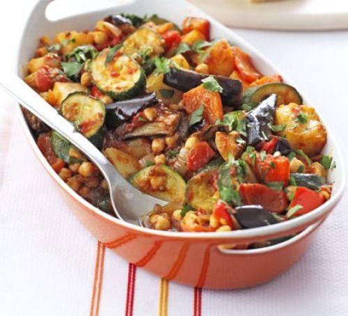 Vegetarian Summer Recipes  Roast summer ve ables & chickpeas recipe