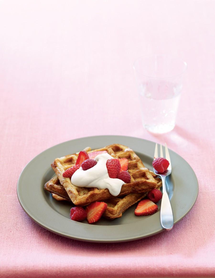 Vegetarian Waffles Recipe  Classic Belgian Waffles with Fresh Berries Recipe