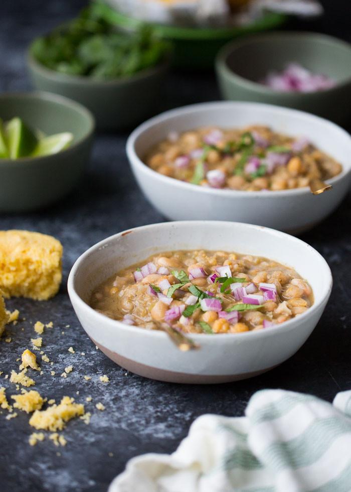Vegetarian White Bean Chili Recipe  20 Minute Ve arian White Bean Chili Kitchen Treaty