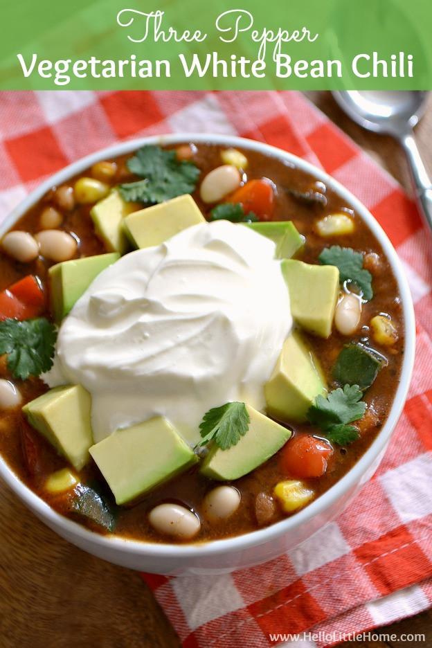 Vegetarian White Bean Chili Recipe  Ve arian White Bean Chili