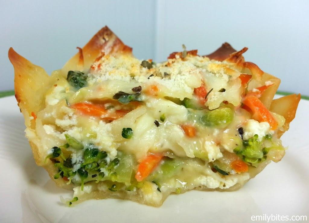 "Vegetarian White Lasagna  White Ve able Lasagna ""Cupcakes"" Emily Bites"