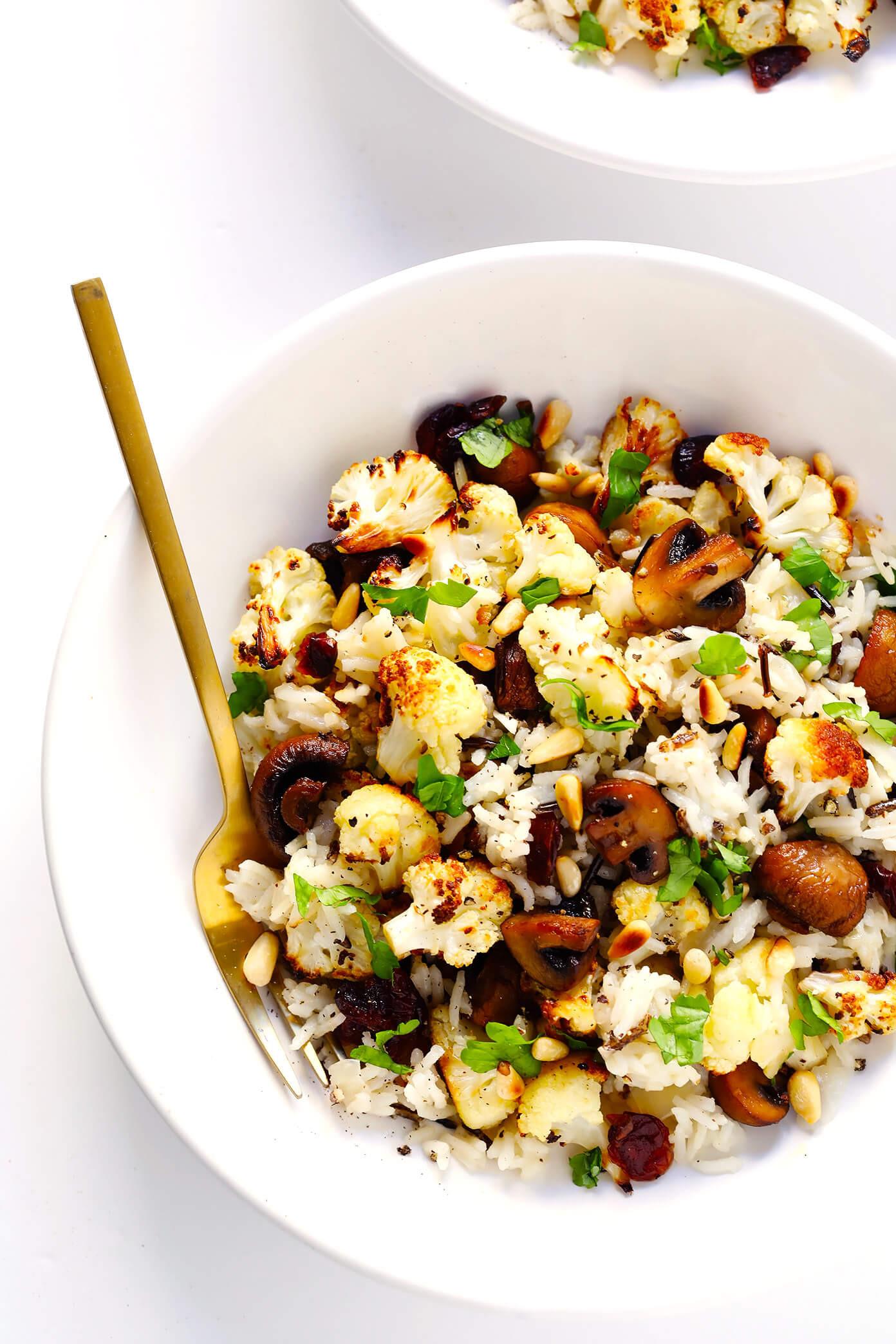 """Vegetarian Wild Rice Recipe  Roasted Cauliflower Mushroom and Wild Rice """"Stuffing"""